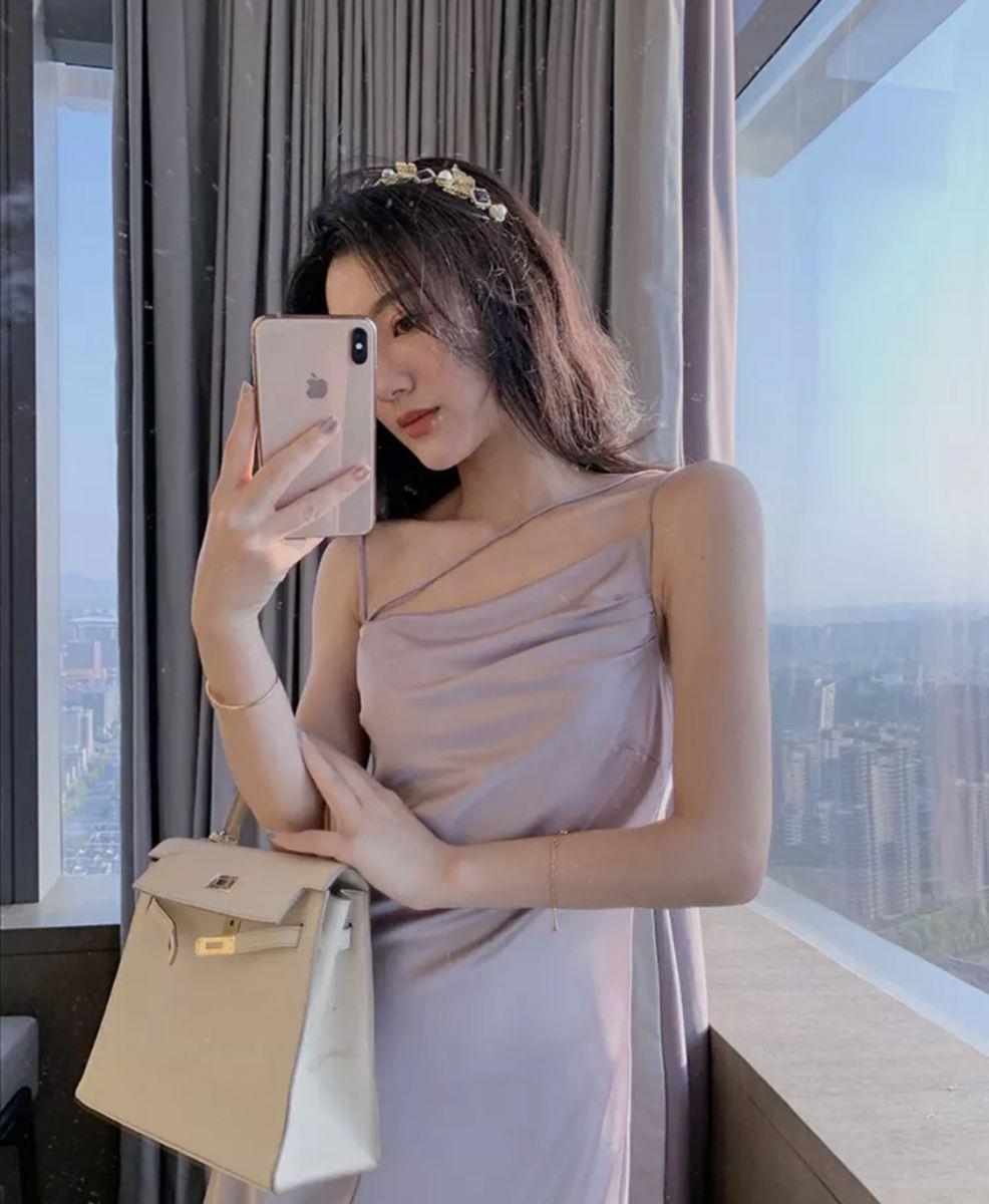 Đầm Maxi Phi Lụa Dây Kiểu (TÍM)