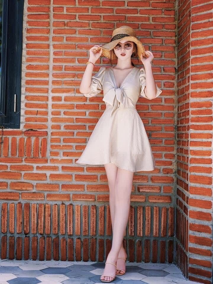 Đầm Xoè Tay Con Buộc Dây Nơ Ngực Tông Nude Trầm