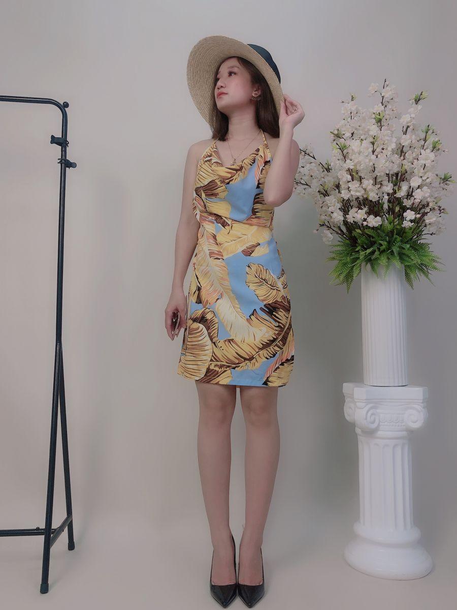 Đầm 2d Cổ Đổ Xẻ Hông (Hoạ Tiết Lá)