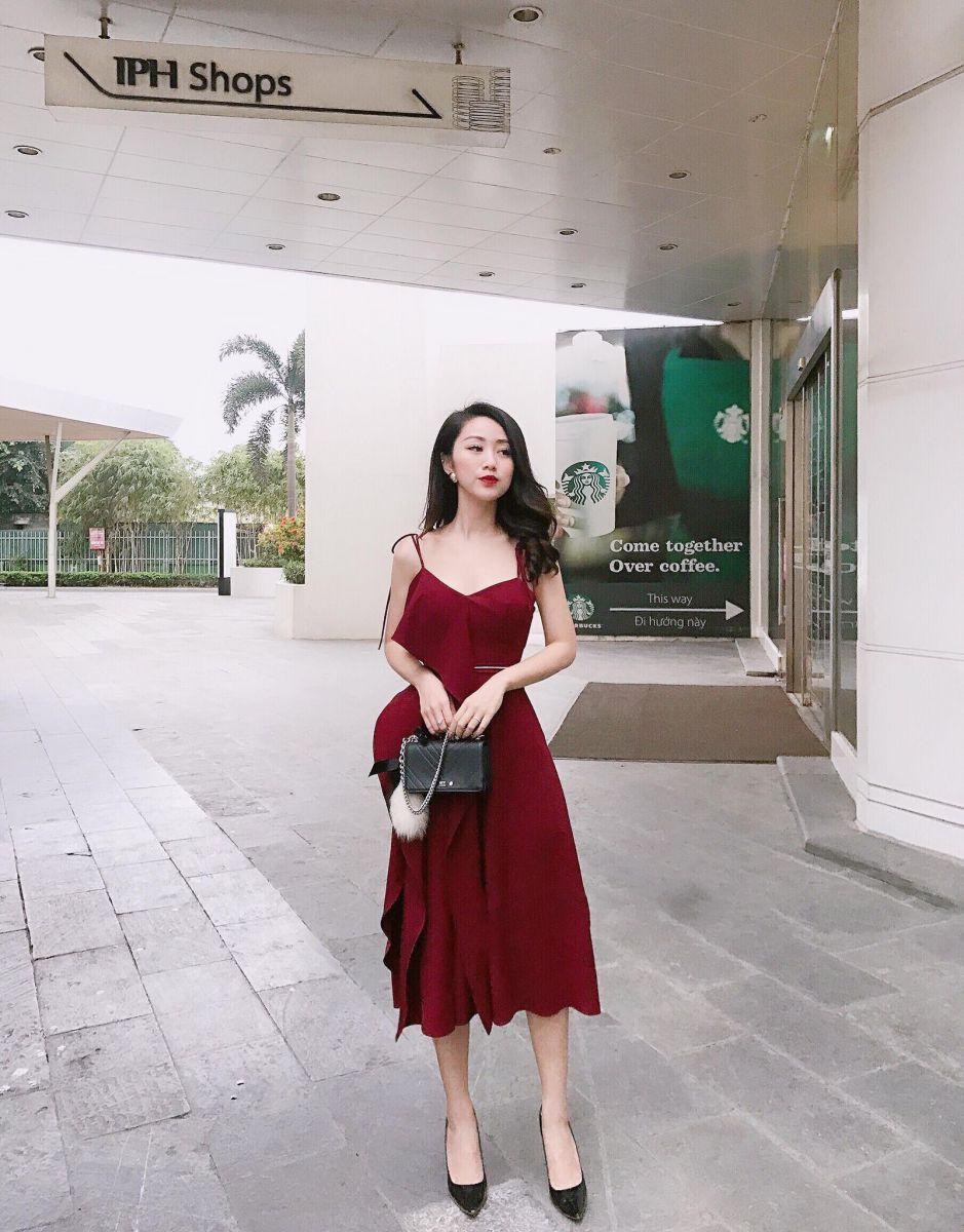 Đầm 2d Tà Bèo Từ Ngực Xuống Thân Váy DOFI (ĐỎ ĐÔ)