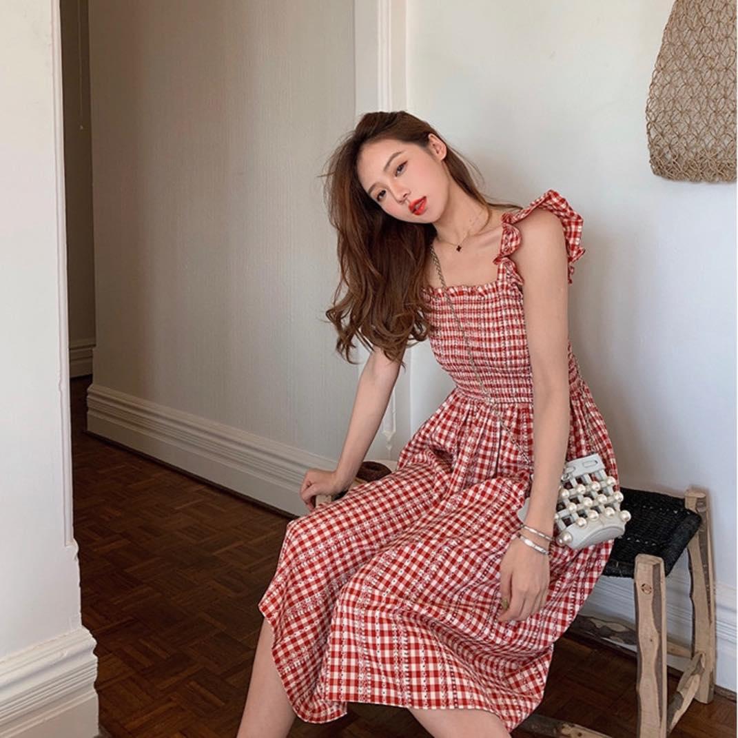 Đầm Xoè Caro Đỏ