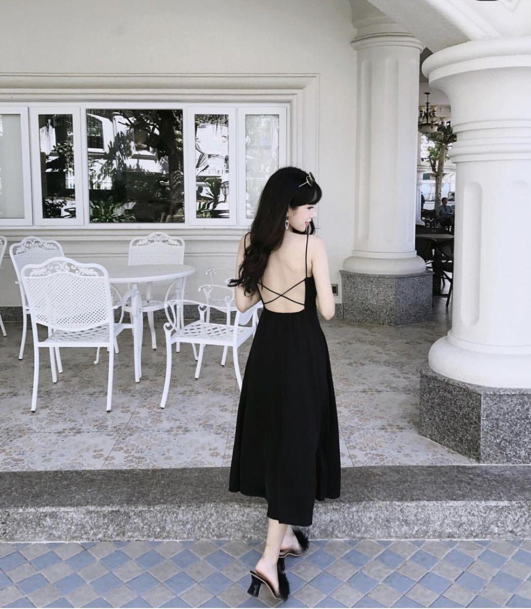 Đầm Dáng Dài Hở Lưng Đan Chéo X (ĐEN)