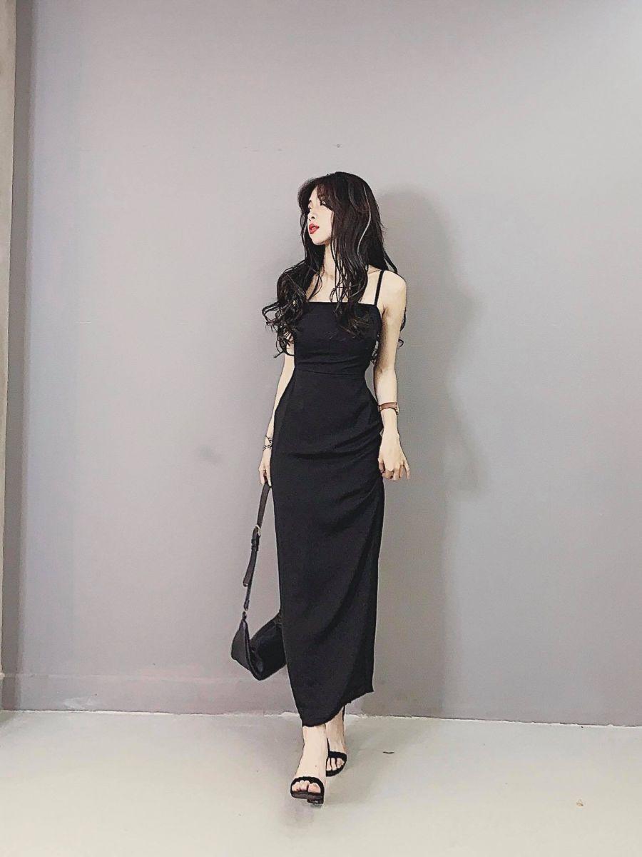 [Q5] Đầm 2 Dây Maxi Chun Nhún Lưng Xẻ Sau EMO (ĐEN)