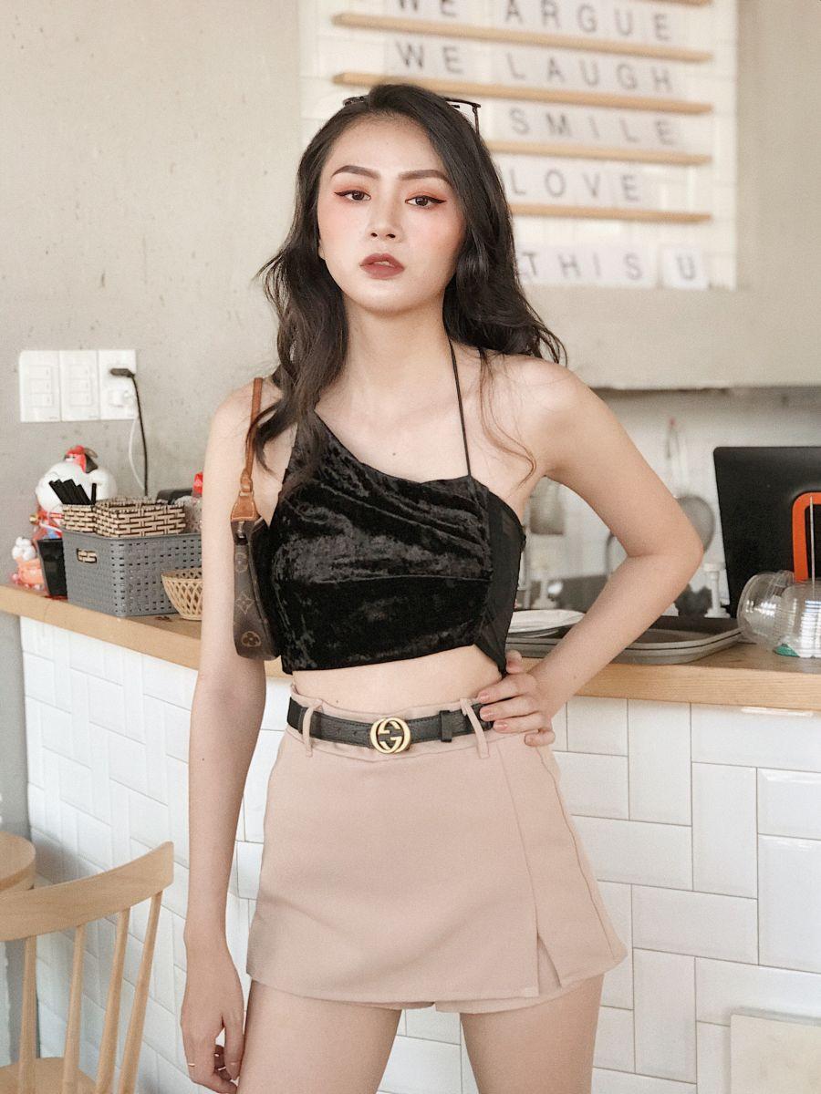 Set Quần Váy Kaki + Áo Nhung Wash