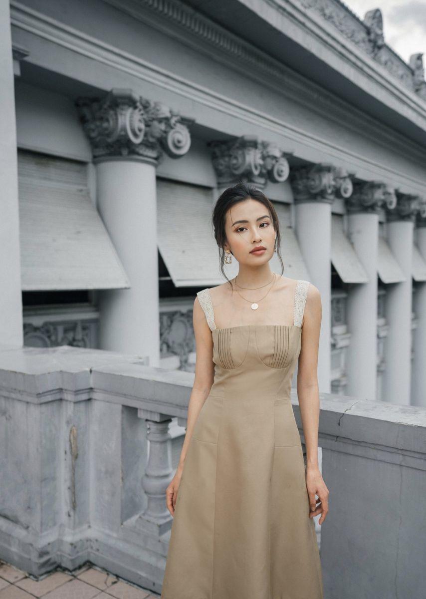 Đầm Cúp Ngực Dây Bản To Ren (Nâu Tây)