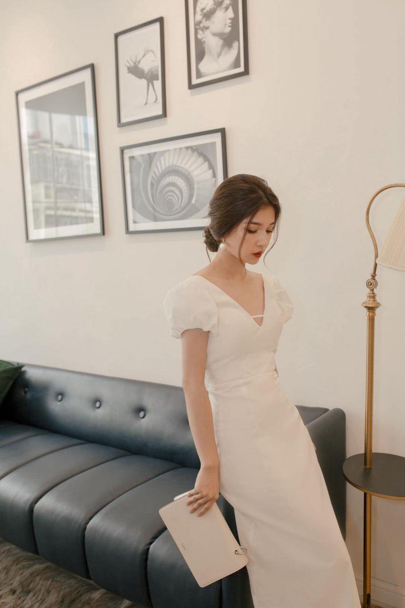 [CD] Đầm Maxi Tay Con Phồng Hở Lưng thắt Dây Sang Trọng (TRẮNG)