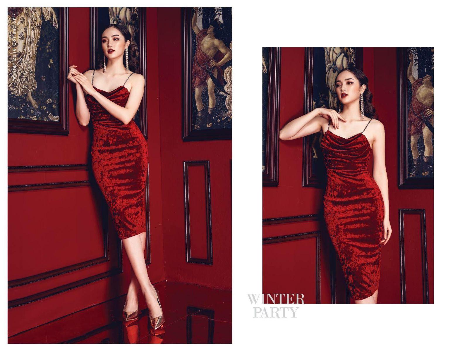 [CN] Đầm Nhung Cổ Đổ CRUSH RED (MÀU ĐỎ)