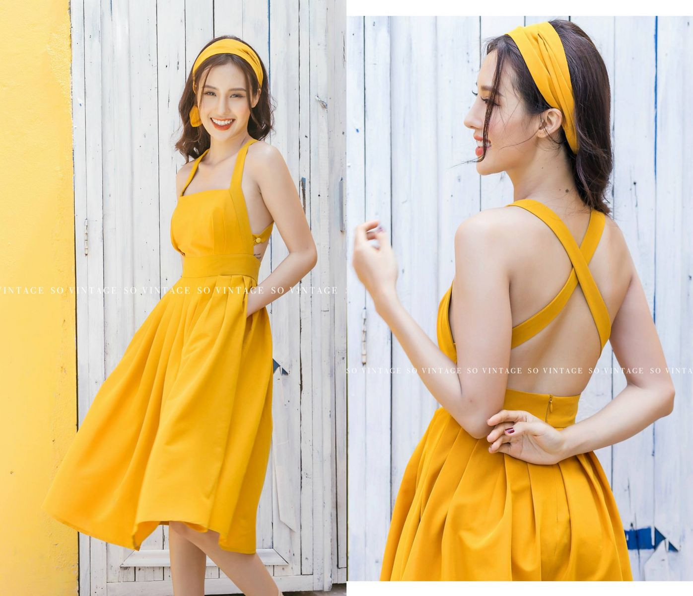 [B] HOBO DRESS - KÈM TURBAN (VÀNG)