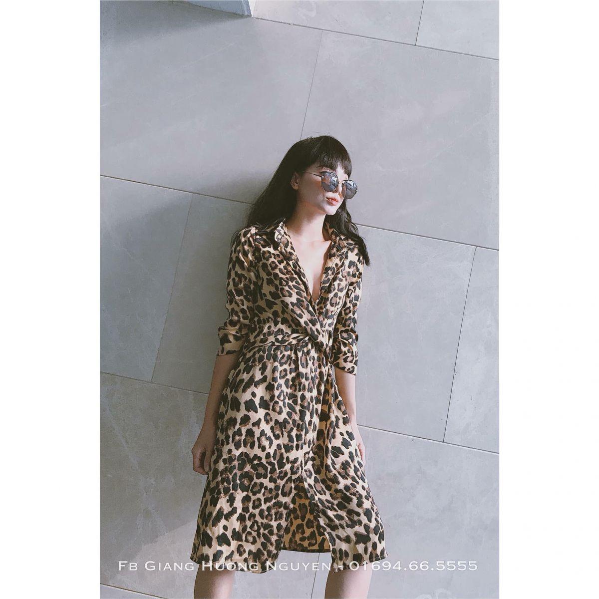 [Q5] Đầm Sơ Mi Da Beo