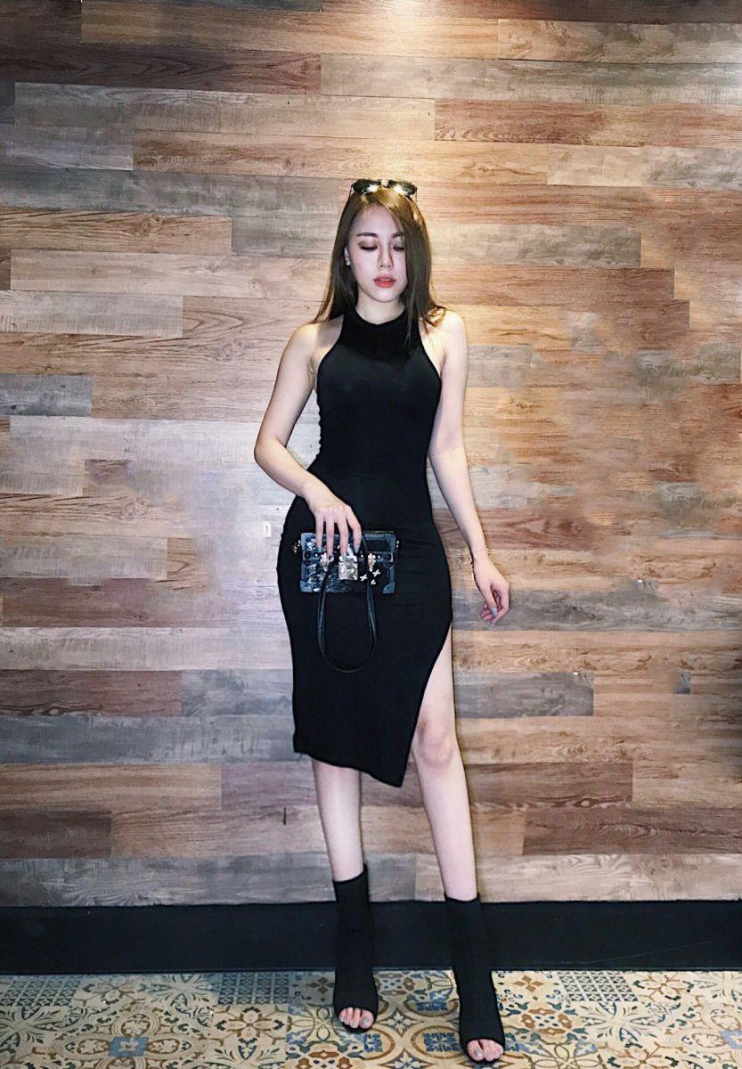 [Q5] Đầm Body Xẻ Đùi FIDER (ĐEN)
