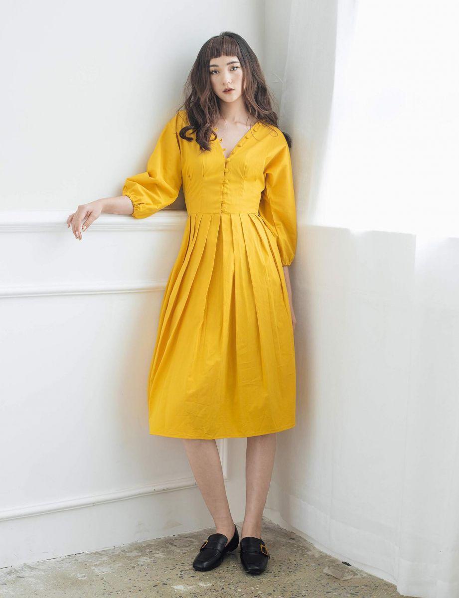 Đầm Xoè Xếp Ly Tay Bo Phồng (VÀNG)