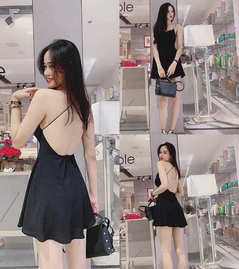 Đầm Xoè Dây Chéo Lưng Sona (ĐEN)