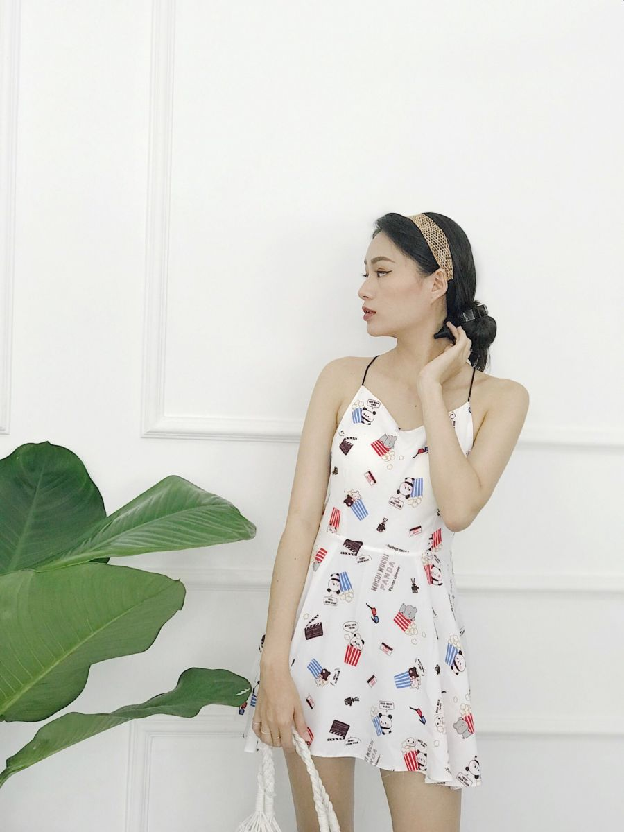 Đầm Xoè Hoạ Tiết PANDA (TRẮNG)