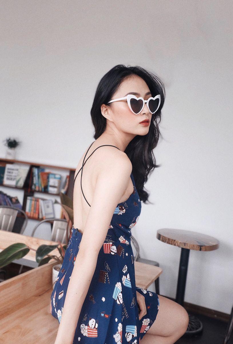 Đầm Xoè Hoạ Tiết PANDA (XANH ĐEN)