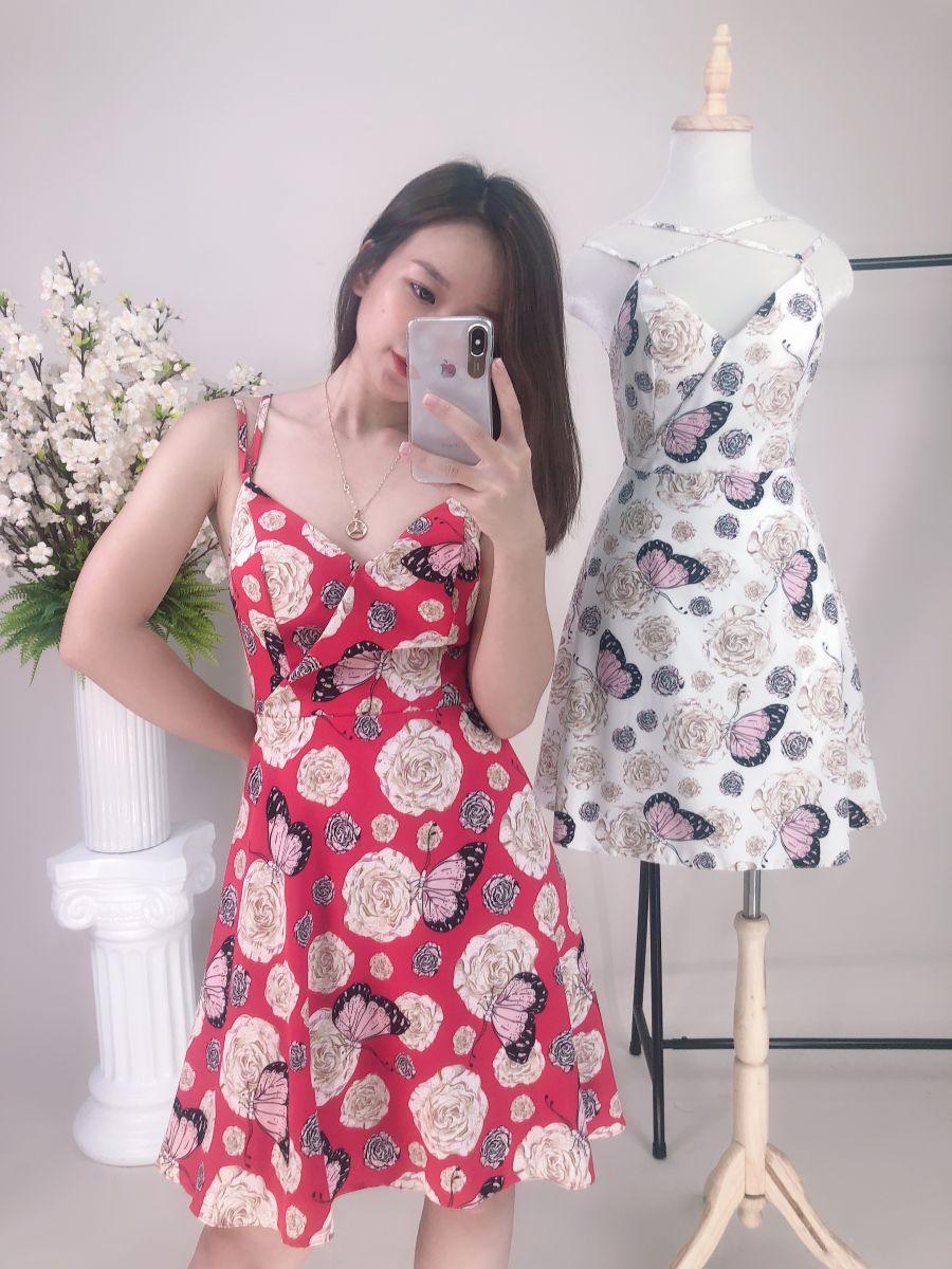Đầm Xoè Hoạ Tiết Hoa Hồng JIJI (ĐỎ)