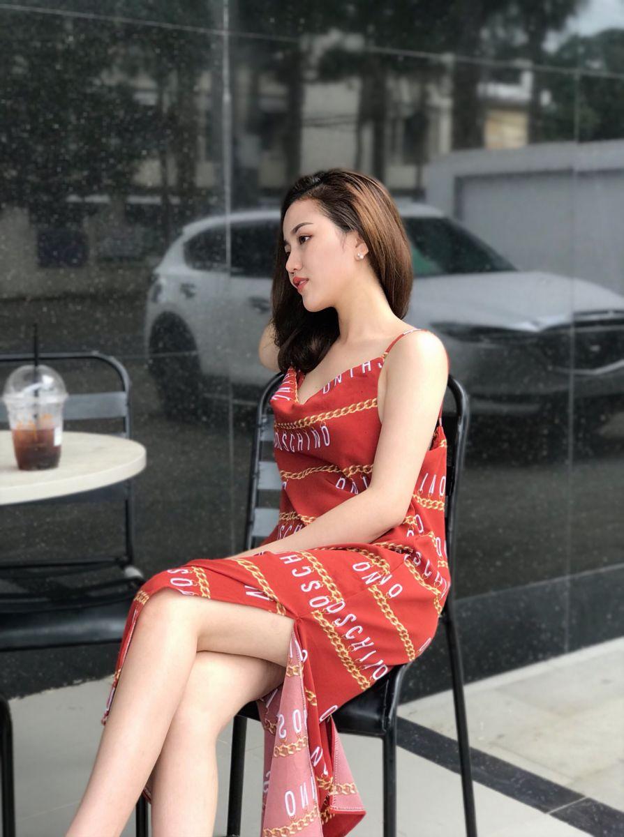 Đầm Suông Phom Dài Hoạ Tiết Chữ (CAM ĐẤT)