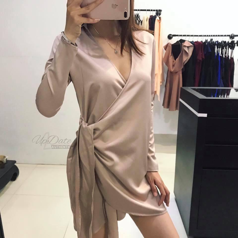 Đầm Ngủ Tay Dài Phi Dây Eo ( Nude )