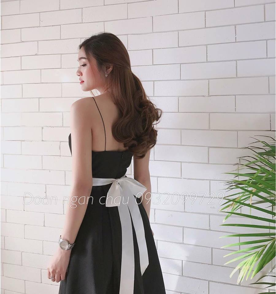 [Q5] Đầm Xoè Vintage Đen Dây Nơ Trắng