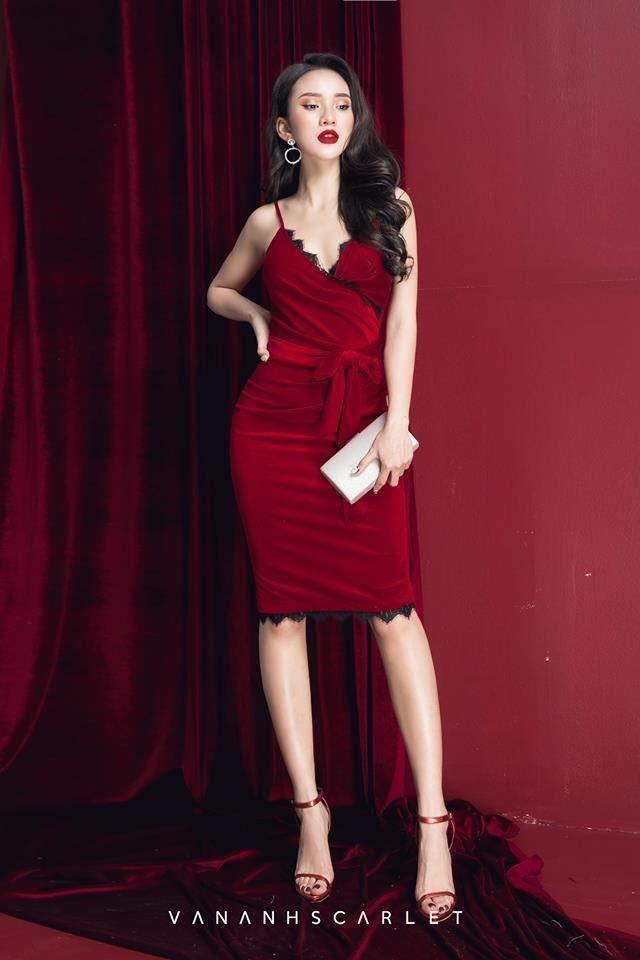 [CT] [CN] Đầm Body Nhung Đỏ LATTE