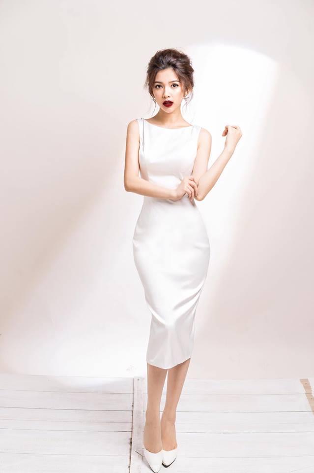 [Q5] Đầm Body Phi Lụa Đổ Sau Lưng (MÀU TRẮNG)