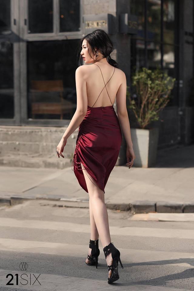 [ Q5 ] Đầm Phi Đỏ Đô Cổ Đổ Dây Rút (MÀU ĐỎ ĐÔ)