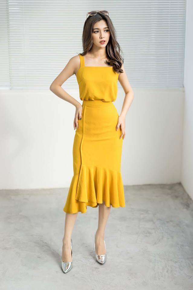 [CN] Set Áo Cổ Vuông Vàng + Chân Váy Ôm Đuôi Cá Vàng PLUS (SET PLUS - Yellow)