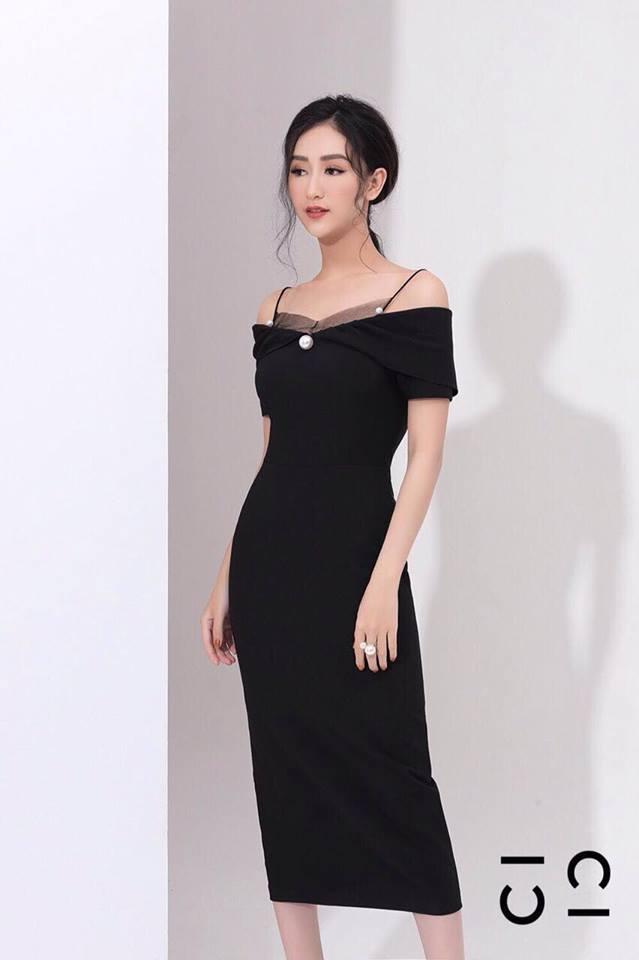 [CT] Đầm Body Đính Hột Châu CICI (ĐEN)