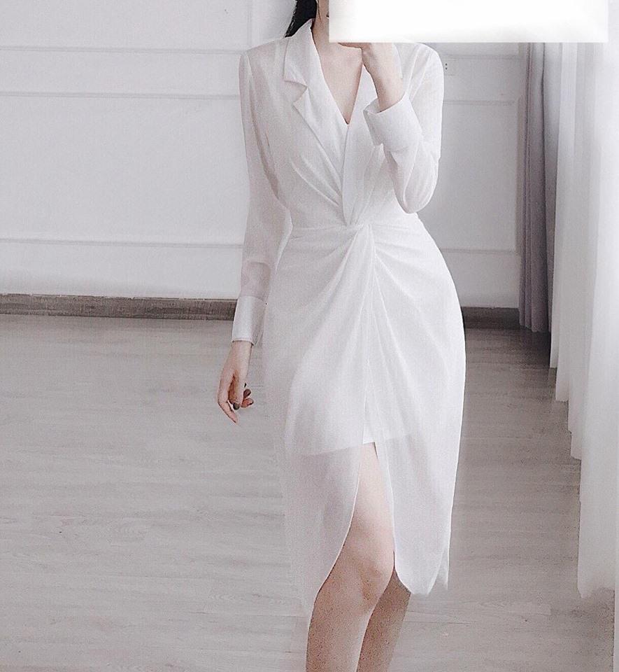 [CN] Đầm Sơ Mi Cổ Vest Jolii (TRẮNG)