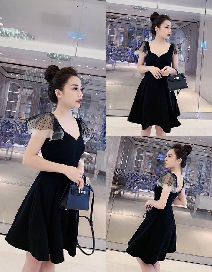Đầm Xoè Cúp Ngực Tay Lưới LALI ( ĐEN )