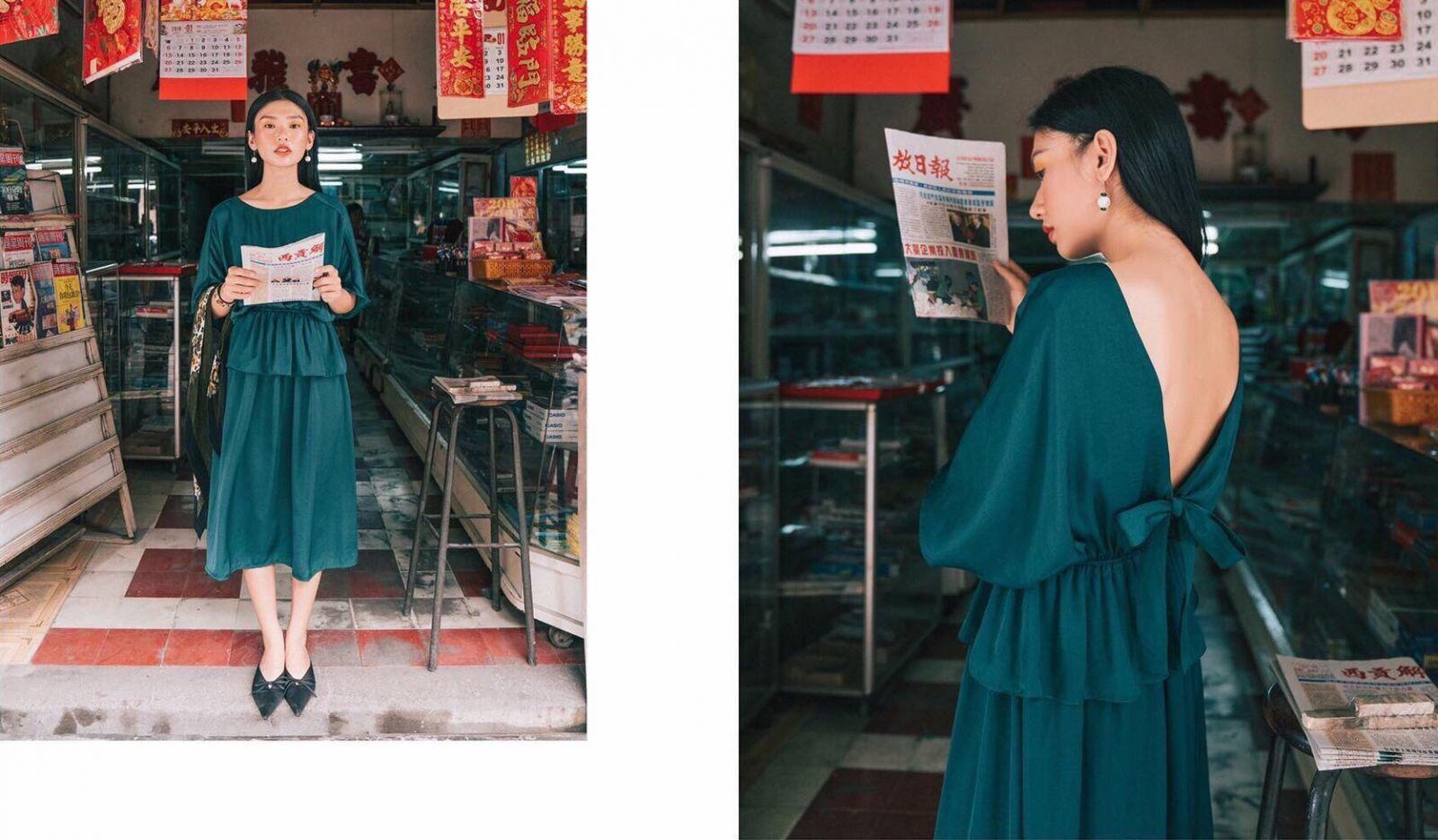 Đầm Xoè Lưng V (Xanh Cổ Vịt)