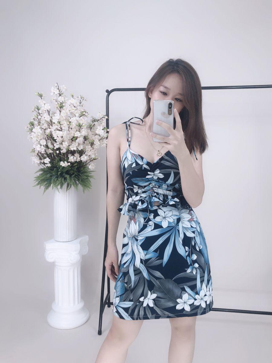 Đầm Hoa Hở Eo Phom Chữ A (NỀN ĐEN)