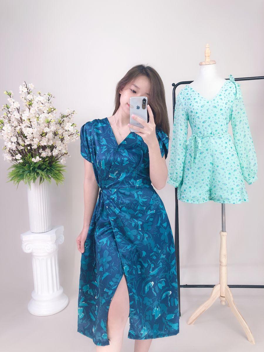 Đầm Hoa Tay Con Cổ Đắp Chéo (XANH)